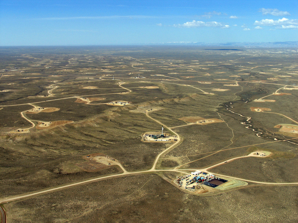 Aerial shot of natural gas infrastructure in the Jonah Field of western Wyoming