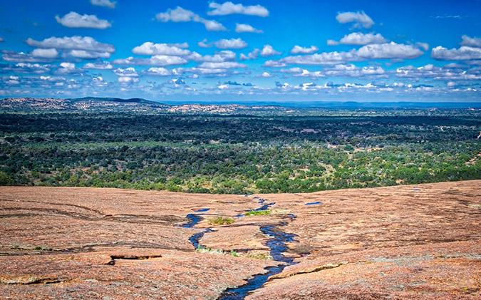 View of Enchanted Rock and beyond in the Texas Hill Country