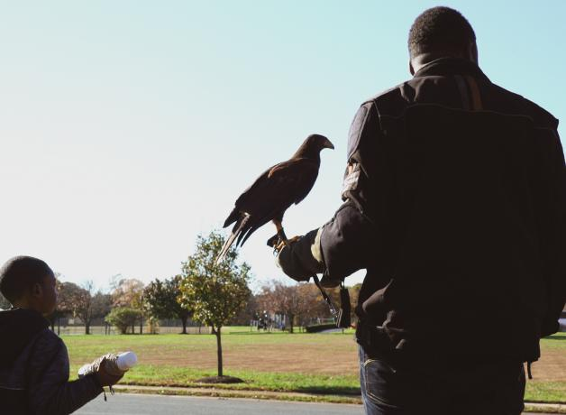 Mike Jackson and son with falcon