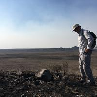 Michael Schroeder looking at sagebrush devastated by wildfire