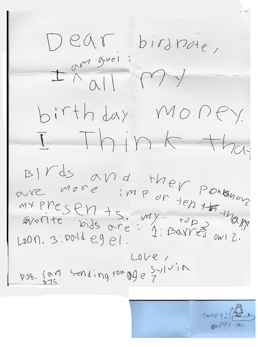 A dontation letter to BirdNote from child Sylvia